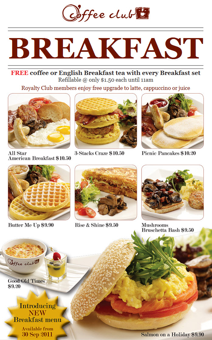 Coffee Club Restaurant Promotions New Breakfast Menu