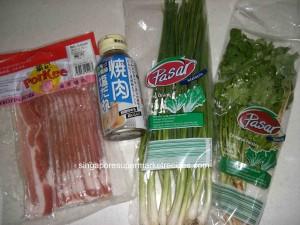 ingredients of BBQ pork salad