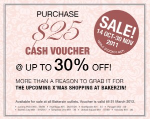 Bakerzin Cash Voucher Promotions