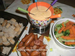 Cheese Fondue with Sausage