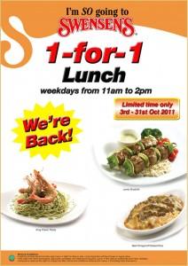 Swensen's 1-for-1 Lunch