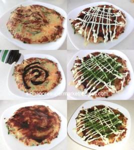 okonomiyaki japanese pancakes montage