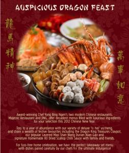 majestic restaurant chinese new year takeaway menu & goodies pen cai