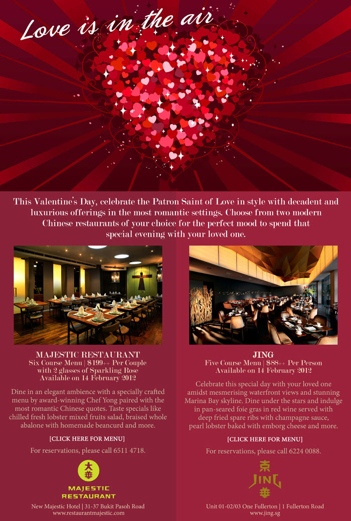 jing majestic valentines day dining promotions menu an valentine
