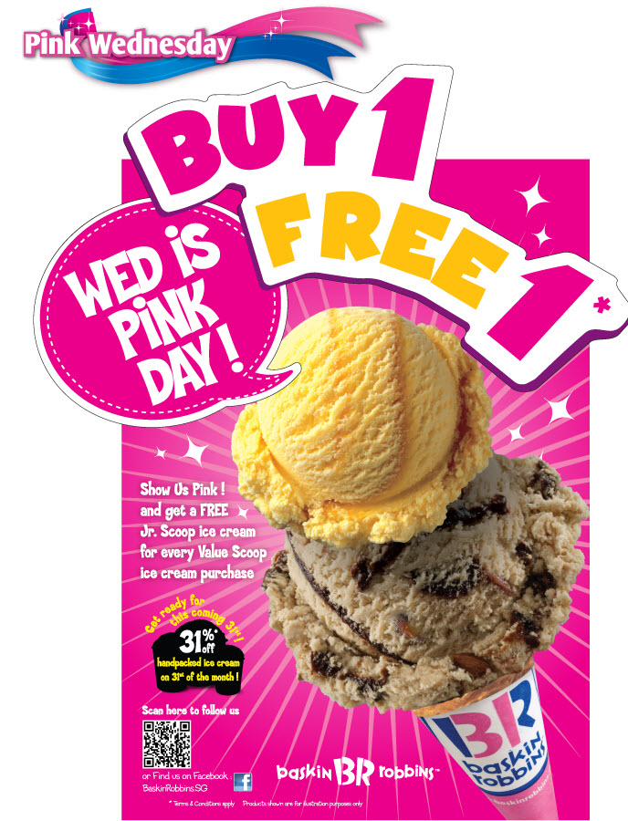 Download the Baskin-Robbins app today and enjoy a free scoop* on us. *Regular scoop offer awarded upon first downloading the BR Mobile App and registering a new account or logging in with an existing Baskin-Robbins account. Limit one coupon per customer. Regular scoop offer valid at participating U.S. Baskin-Robbins locations.