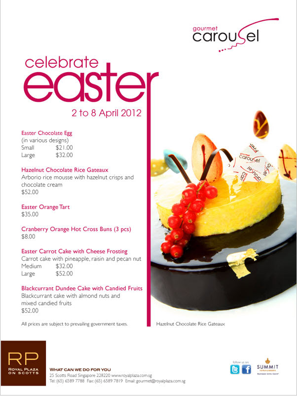 Easter 2012 goodies ideas promotions singapore carousel gourmet
