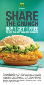 mcdonald singapore 1 for 1 tasty crispy chicken burger promotions
