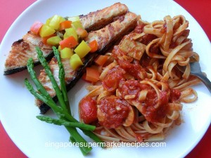 Grilled Salmon with Tomato Pasta using Tapenade Olive Spread