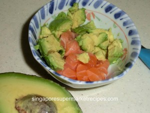 salmon avocado toppings for handroll sushi