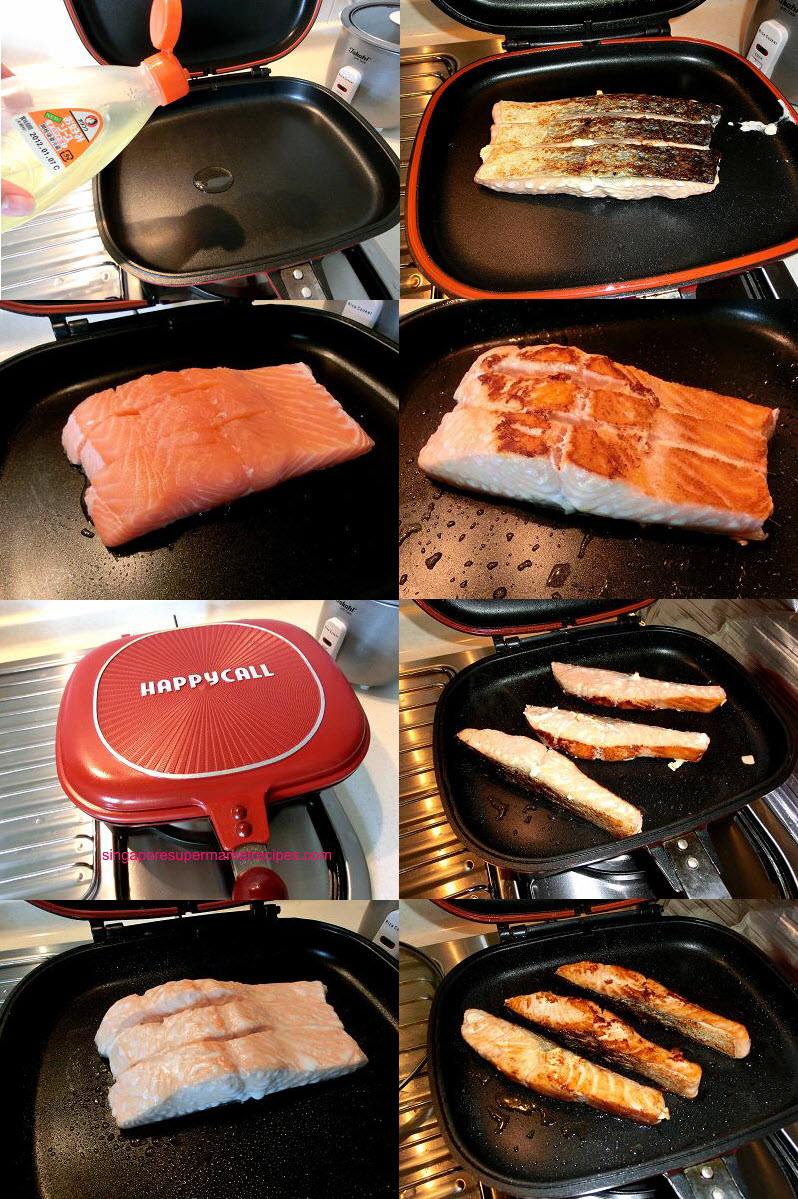 Griled salmon fillet using Happycall pan