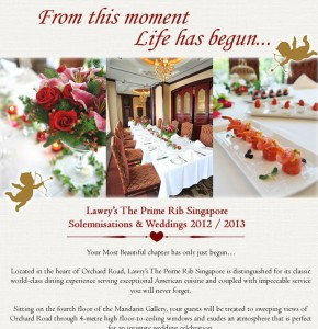 Lawry's The Prime Rib Singapore Wedding & Solemnisation Promotions