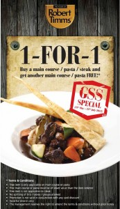 The House of Robert Timms 1 for 1 Dining Promotions