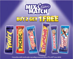 Cadbury Mix & Match Promotions Buy 2 Get 1 Free