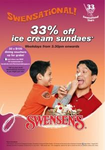 swensens 33 percent off ice cream promotion