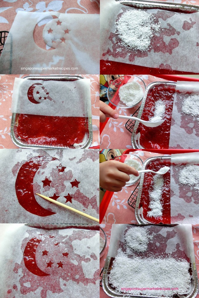 Decorating national flag strawberry cheesecake