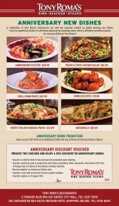 tony roma's anniversary new dishes