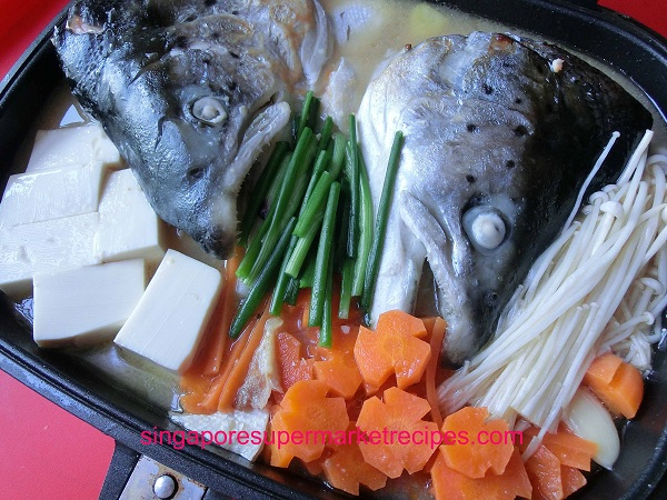 Salmon Fish Head Miso Stew With Happycall Pan Full Of