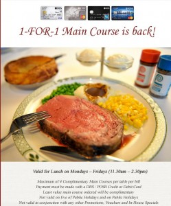 Lawry's 1 for 1 main course promotions