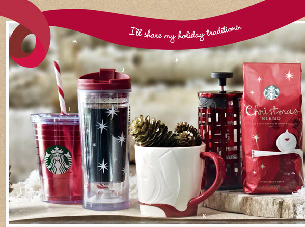 Starbucks christmas gift ideas white green red gold