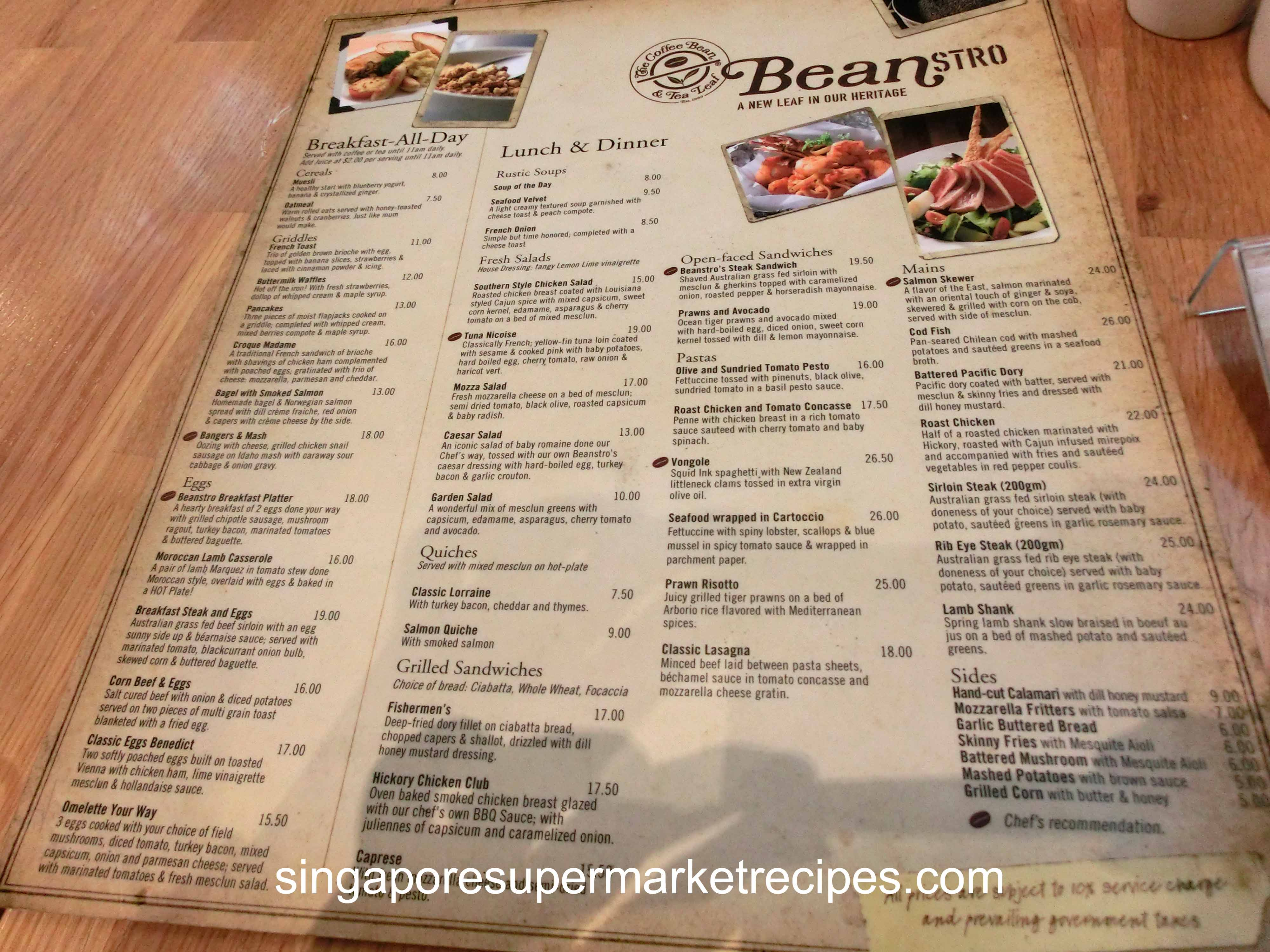 The Coffee Bean Tea Leaf Bistro At Mbs People Watch Shop Watch Boat Watch Food Watch With Menu Singaporesupermarketrecipes Com