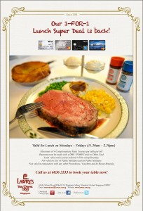 lawry's the prime ribs singapore 1 for 1 promotions