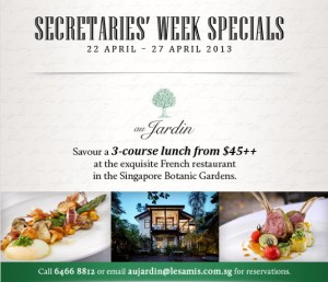 Au jardin secretaries week specials dining promotions for Au jardin singapore sunday brunch