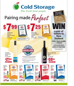 Cold Storage cheese & wine supermarket promotions