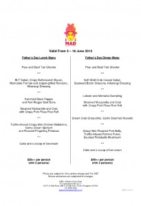 MAD Father's Day dining promotions