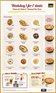 pizza hut weekday 1 for 1 promotions