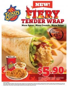 texas chicken fiery tender wraps