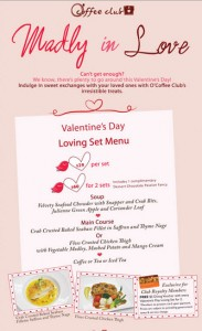 coffee club valentine's day dining promotions 2014