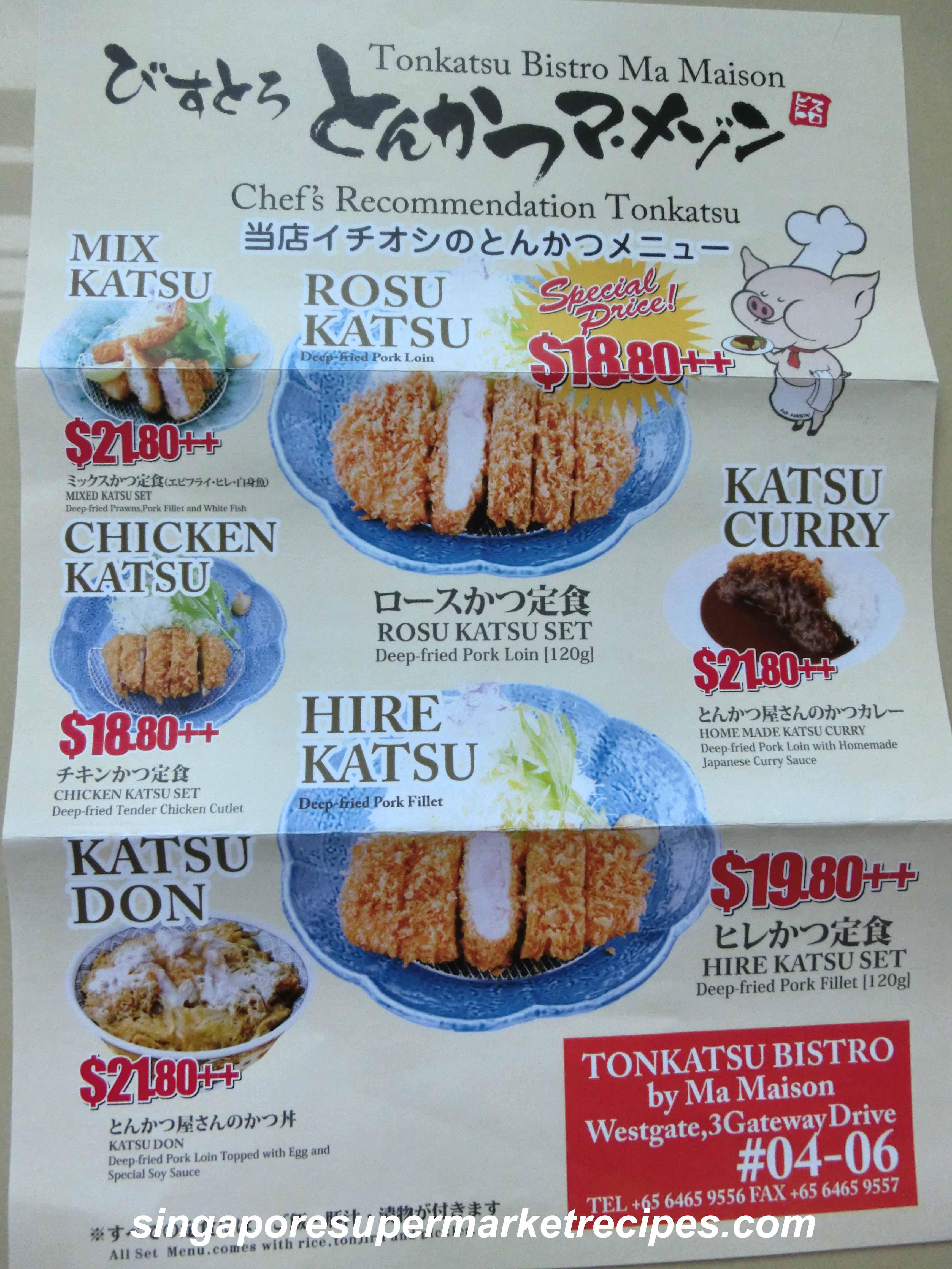 Tonkatsu bistro by ma maison special dining sets for Aloha ma maison singapore