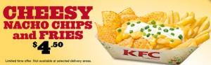 KFC cheesy nacho chips and fries menu