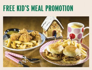 Tony Roma free kid's meal promotion during school holidays