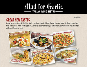 Mad for Garlic new menu