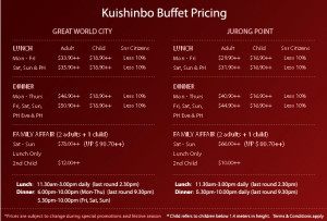 kushinbo buffet spread pricing