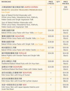 majestic mooncake price list